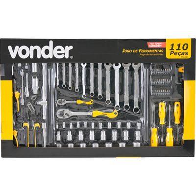 Kit de Ferramentas Vonder com 110 Peças em Cromo Vanádio
