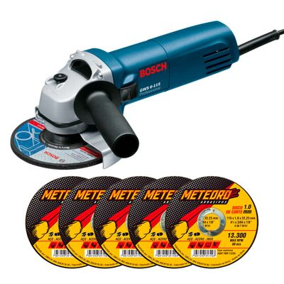 Kit-Esmerilhadeira-Bosch-GWS-6-115---5-Discos-de-Corte-Meteoro-4.1-2-Pol