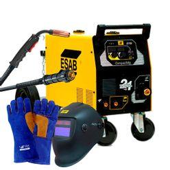 Kit-Maquina-de-Solda-Mig-Esab-CompactMig-215i-com-Tocha-Mascara-e-Luva-para-Soldador-