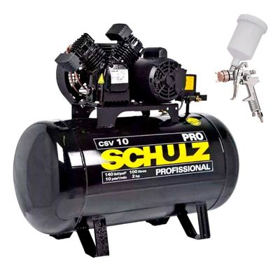 Kit-Compressor-de-Ar-Schulz-CSV-10-pes-100-Litros-PRO-com-Pistola-de-Pintura-HVLP