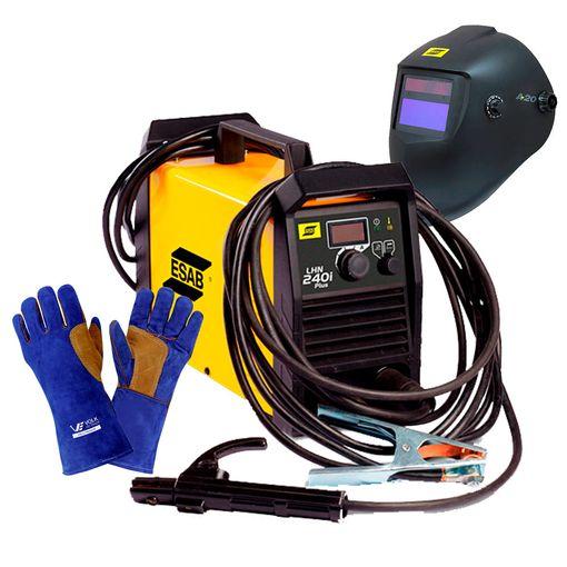 Kit-Maquina-de-Solda-Inversora-Esab-Lhn-240i-com-Mascara-de-Solda-A20-e-Luvas