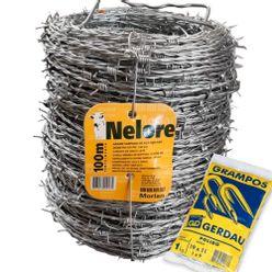 Kit-Arame-Farpado-Nelore-Morlan-100-Metros-com-Grampo-Gerdau-Polido-19x11-para-Cerca