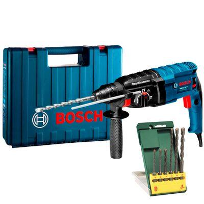Martelete-Bosch-Perfurador-Rompedor-GBH-2-24D-com-Kit-de-Brocas-6-Pecas