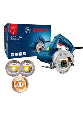 Kit-Serra-Marmore-Bosch-GDC-150-Titan-1500W-com-2-Discos-e-1-Diamantado-Husqvarna-Turbo-Flx-Cut-110mm
