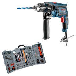 Kit-Furadeira-Bosch-de-Impacto-GSB-13-RE-650W-1-2-Pol-com-Jogo-de-Ferramentas-Schulz-com-160-Pecas